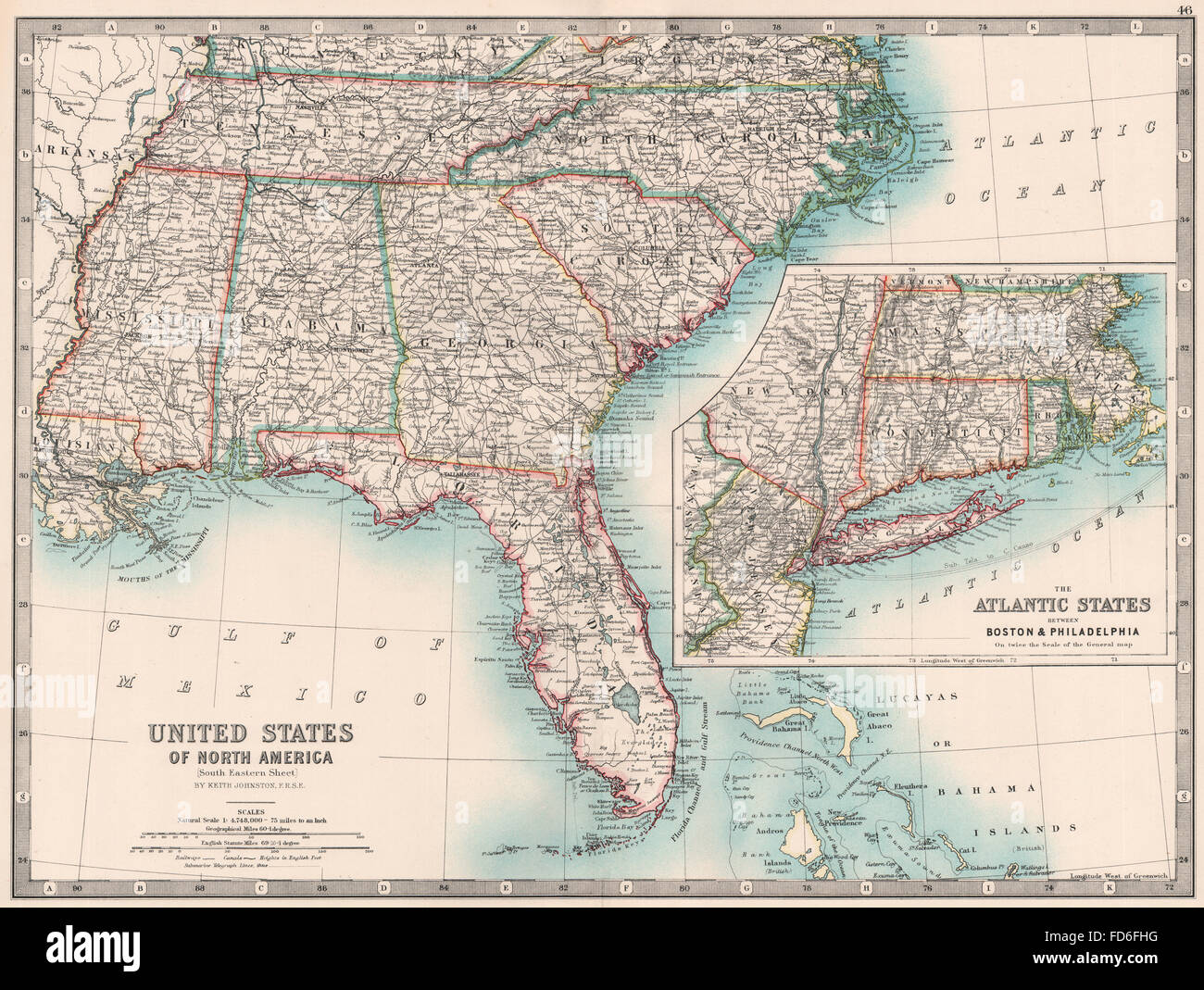 USA SOUTH EAST/ATLANTIC STATES: Carolinas Florida Georgia &c ...