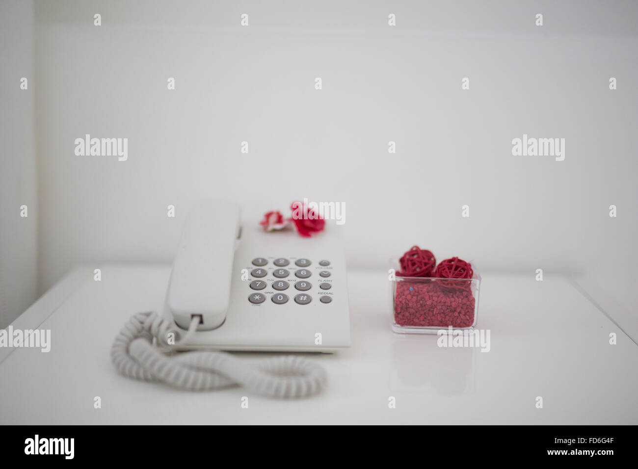 Landline Phone On A Table - Stock Image