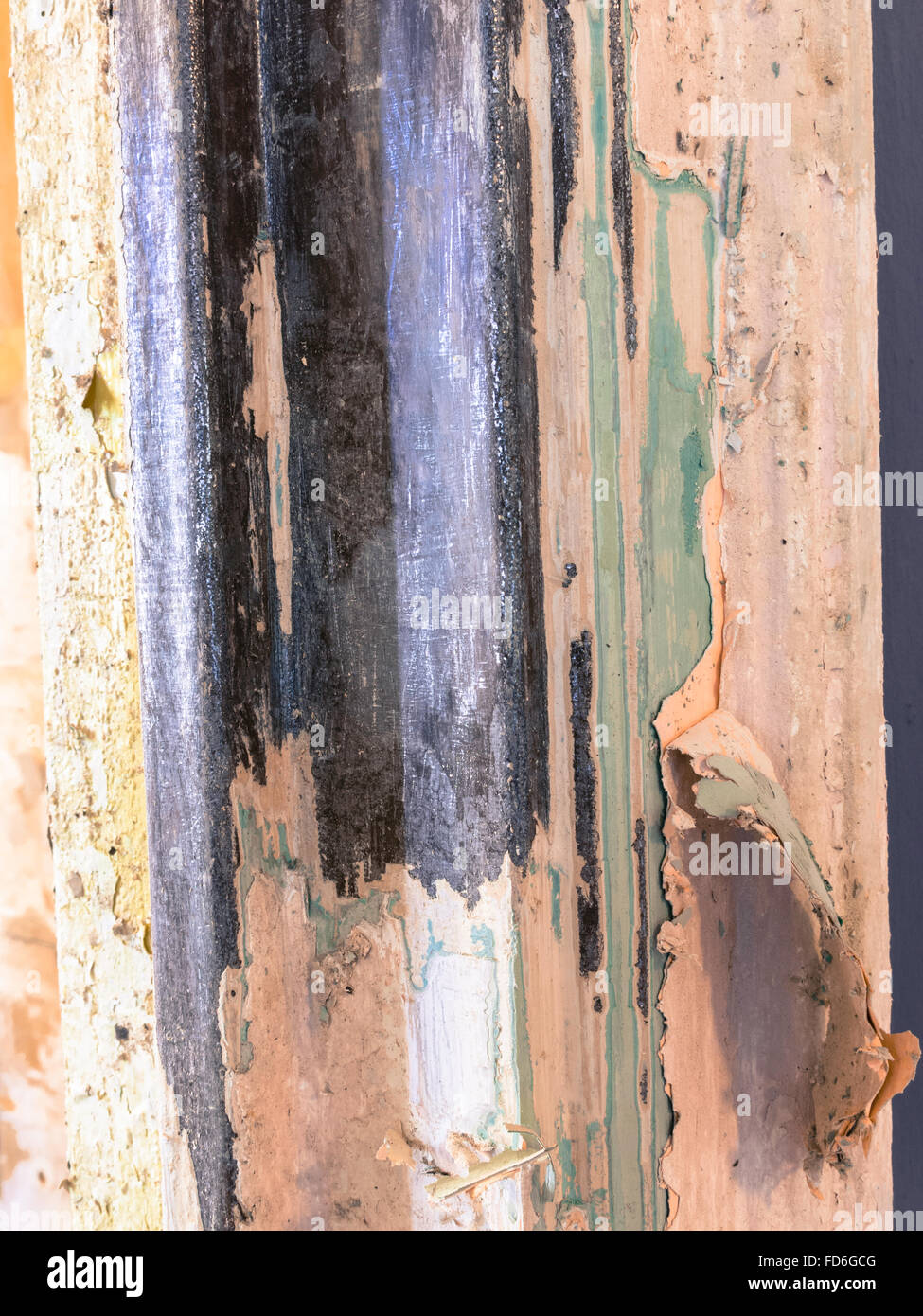 Peeling Paint on Metal Door Frame - Stock Image