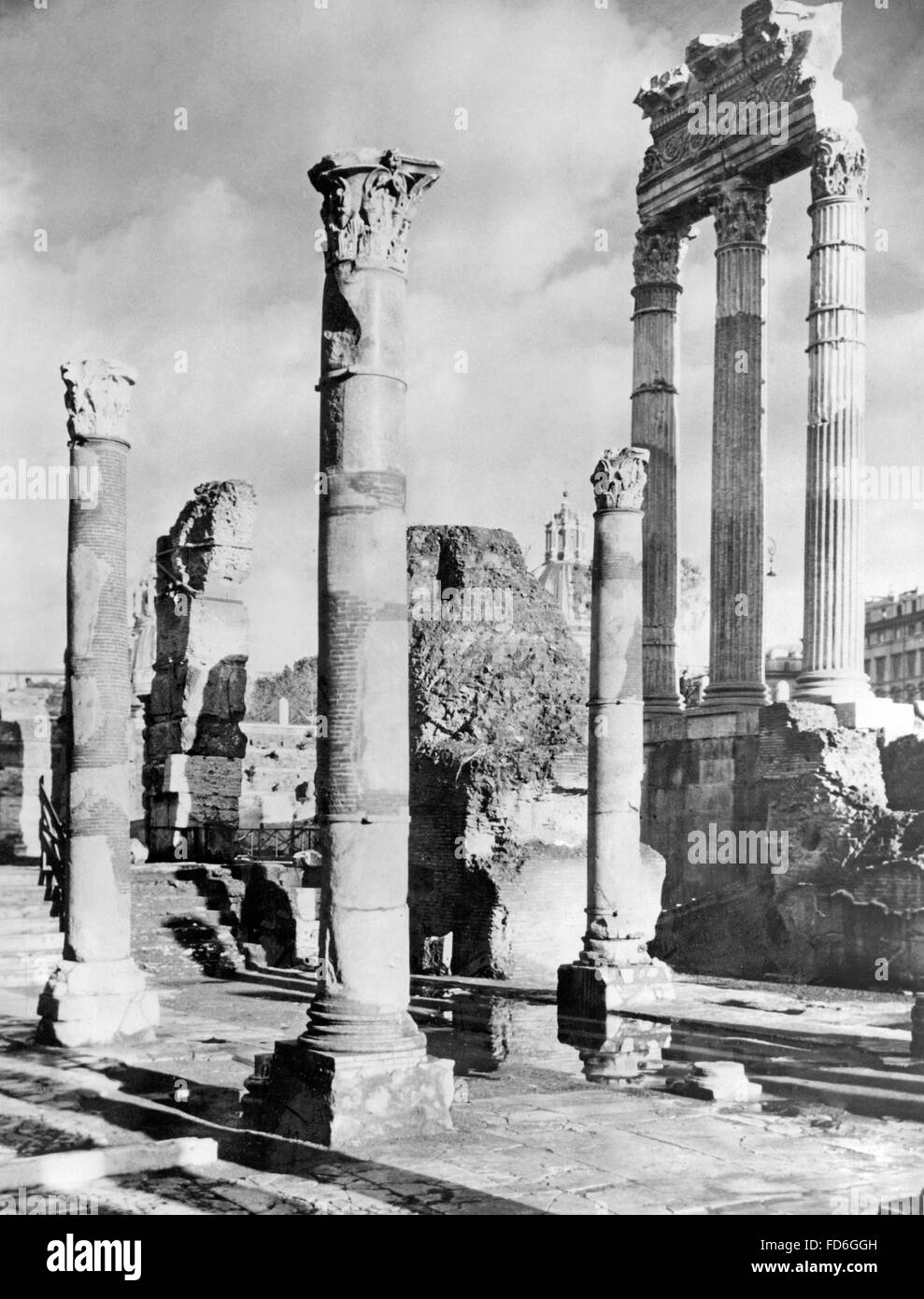 Temple of Venus and Roma and temple of Bellona in Rome until 1945 - Stock Image