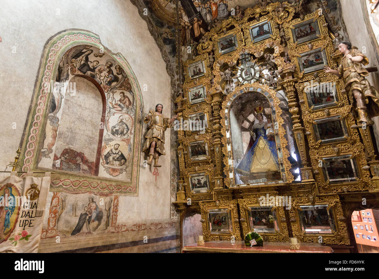 Ornate Mexican Folk Baroque Altar With The Virgin Of Sorrows At The Stock Photo Alamy