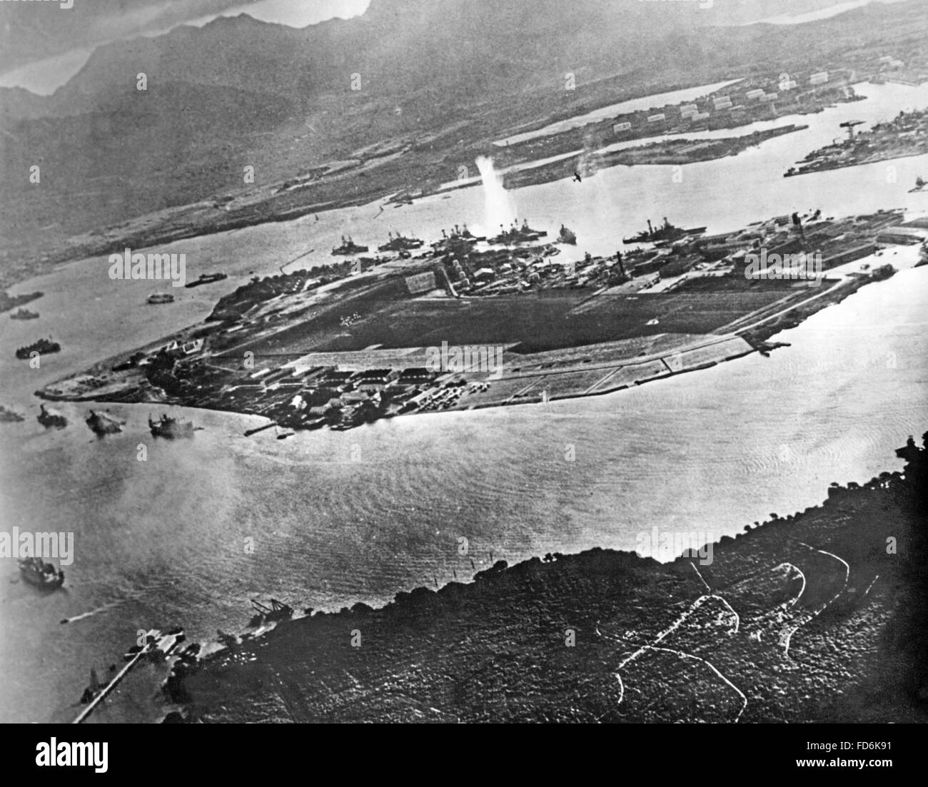 Aerial view on Pearl Harbor on 12/07/1941 Stock Photo