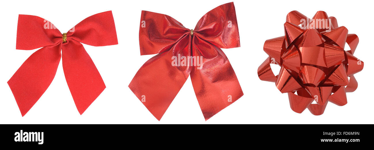 red bows isolated in white - Stock Image