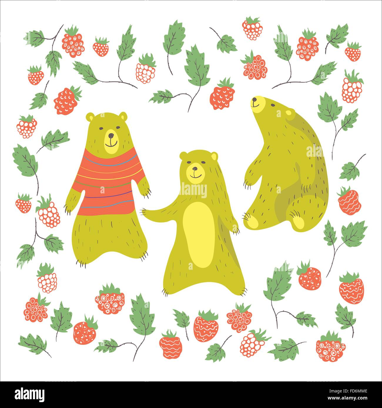 Cute bears and raspberries in cartoon style. Bear in sweater.Vector illustration. - Stock Vector