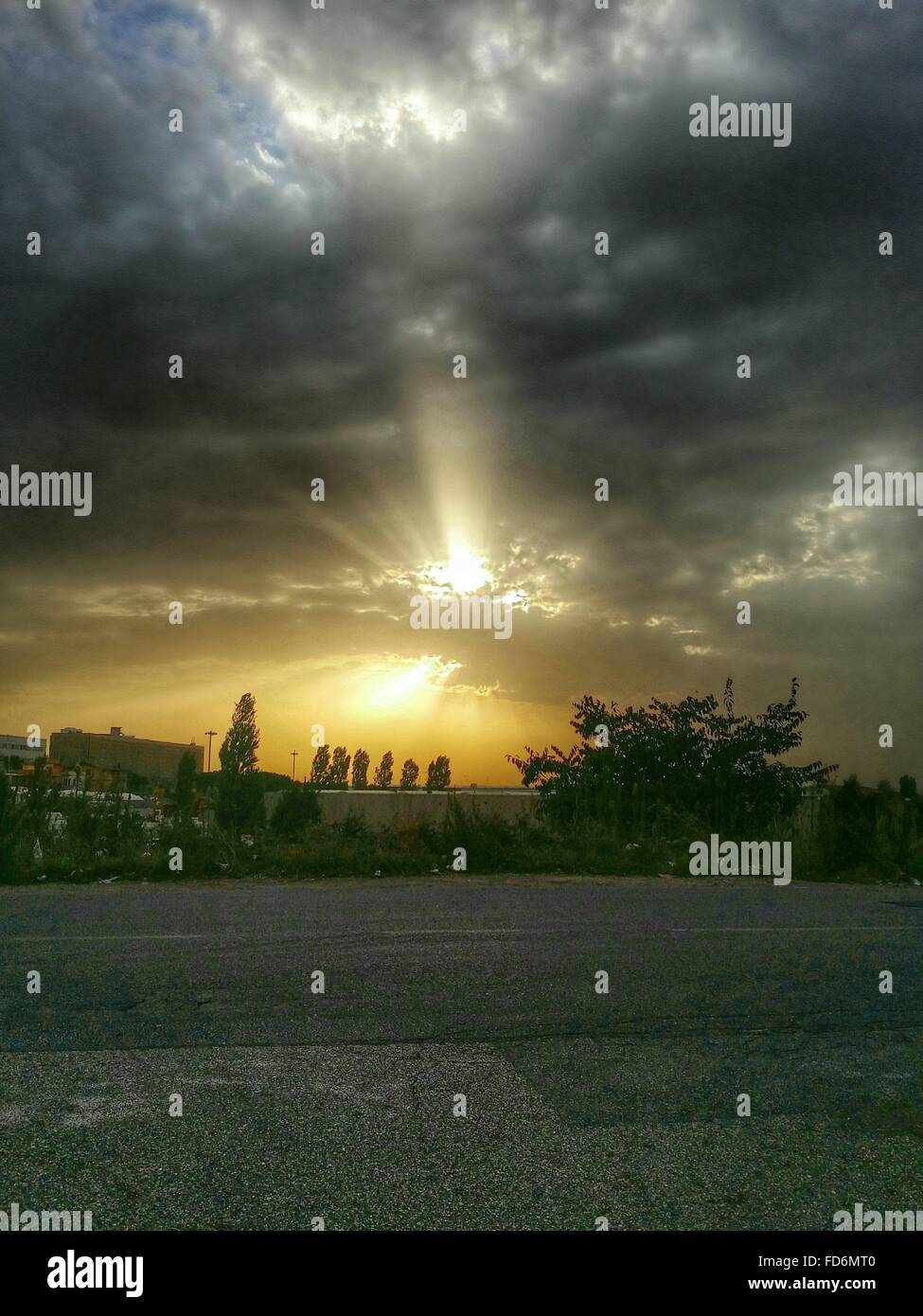 Dramatic Sky Over City - Stock Image