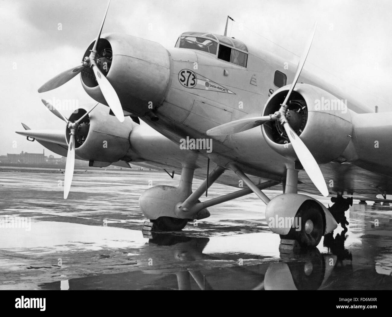 Airplane of the belgian airline Sabena at the airport of Berlin, ca. 1935 Stock Photo