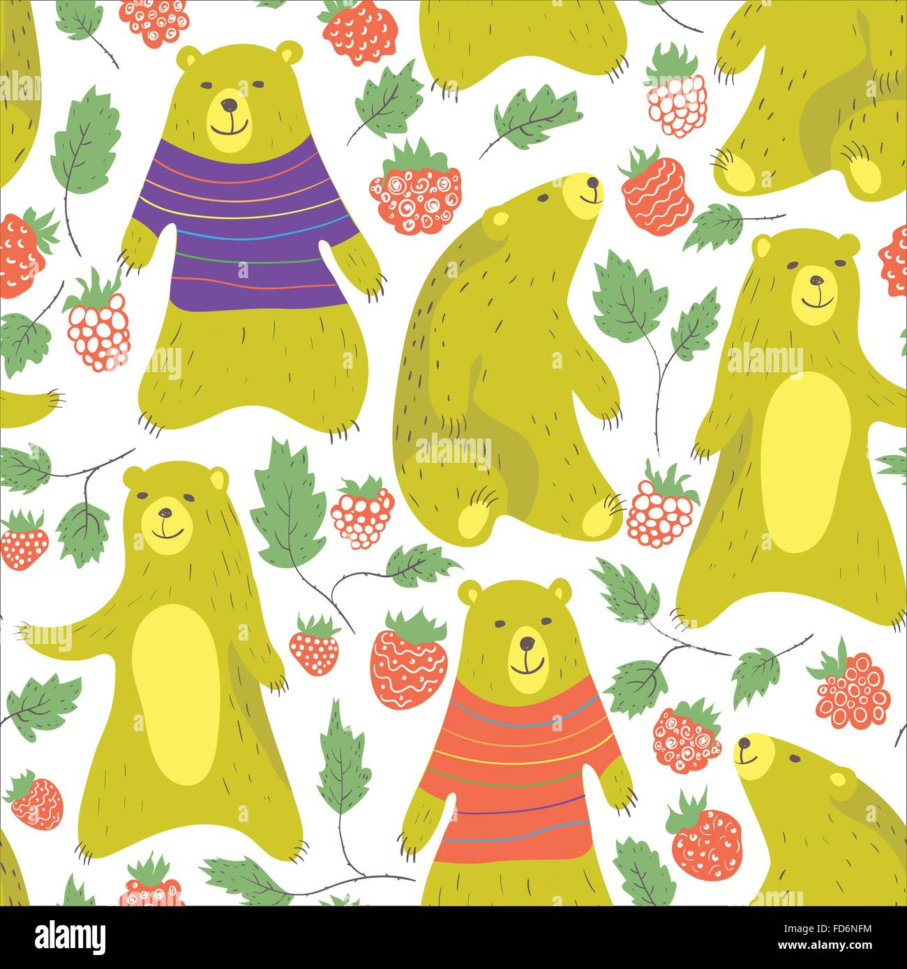 Cute bear and raspberry seamless pattern in cartoon style. Bear in sweater.Vector illustration. - Stock Vector