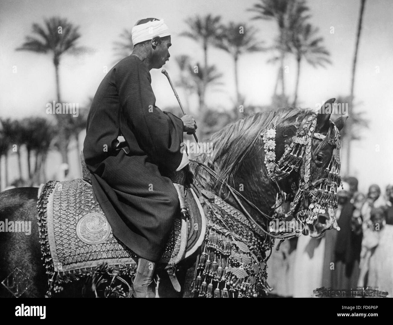 Man on a horse, 1930s - Stock Image