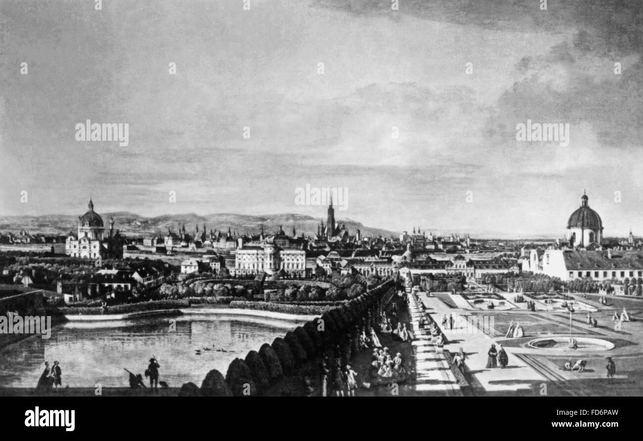 Cityscape of Vienna around 1760 - Stock Image