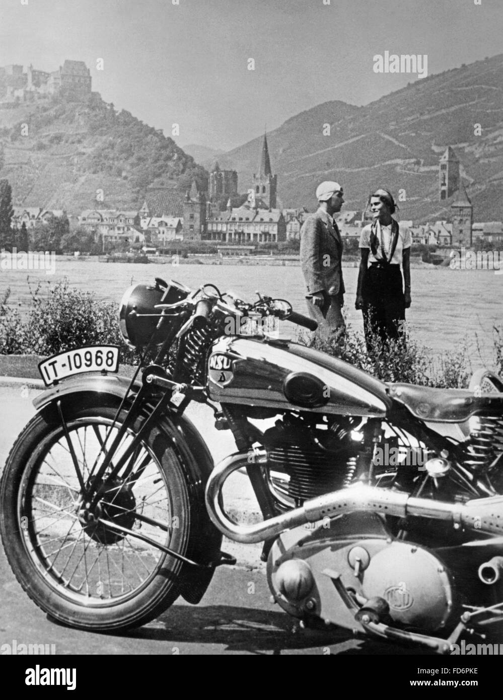 A motorcycle trip alongside the Rhein river, 1936 - Stock Image