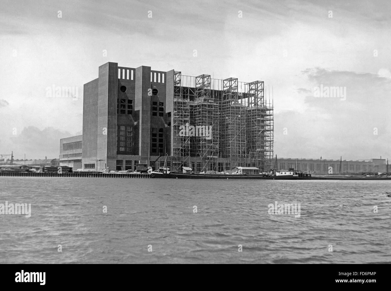 Automobile industry: VW plant under construction - power plant of the VW plant, 1939 Stock Photo