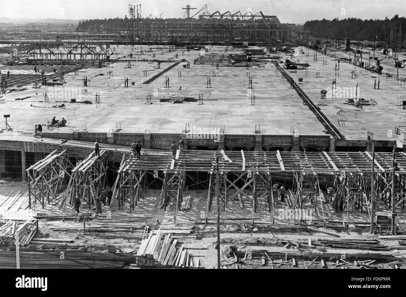 Automobile industry: VW plant under construction - building of the VW plant in Fallersleben, 1938 Stock Photo