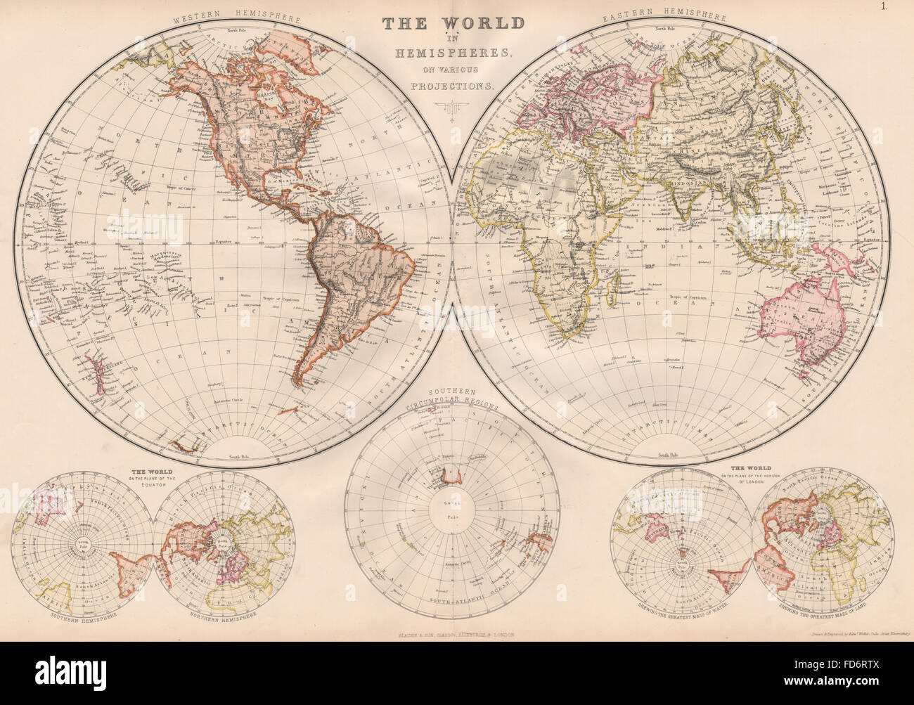 Hemispheres geography stock photos hemispheres geography stock world in hemispheres equatorial antarctic london planes blackie 1882 map stock image gumiabroncs Image collections