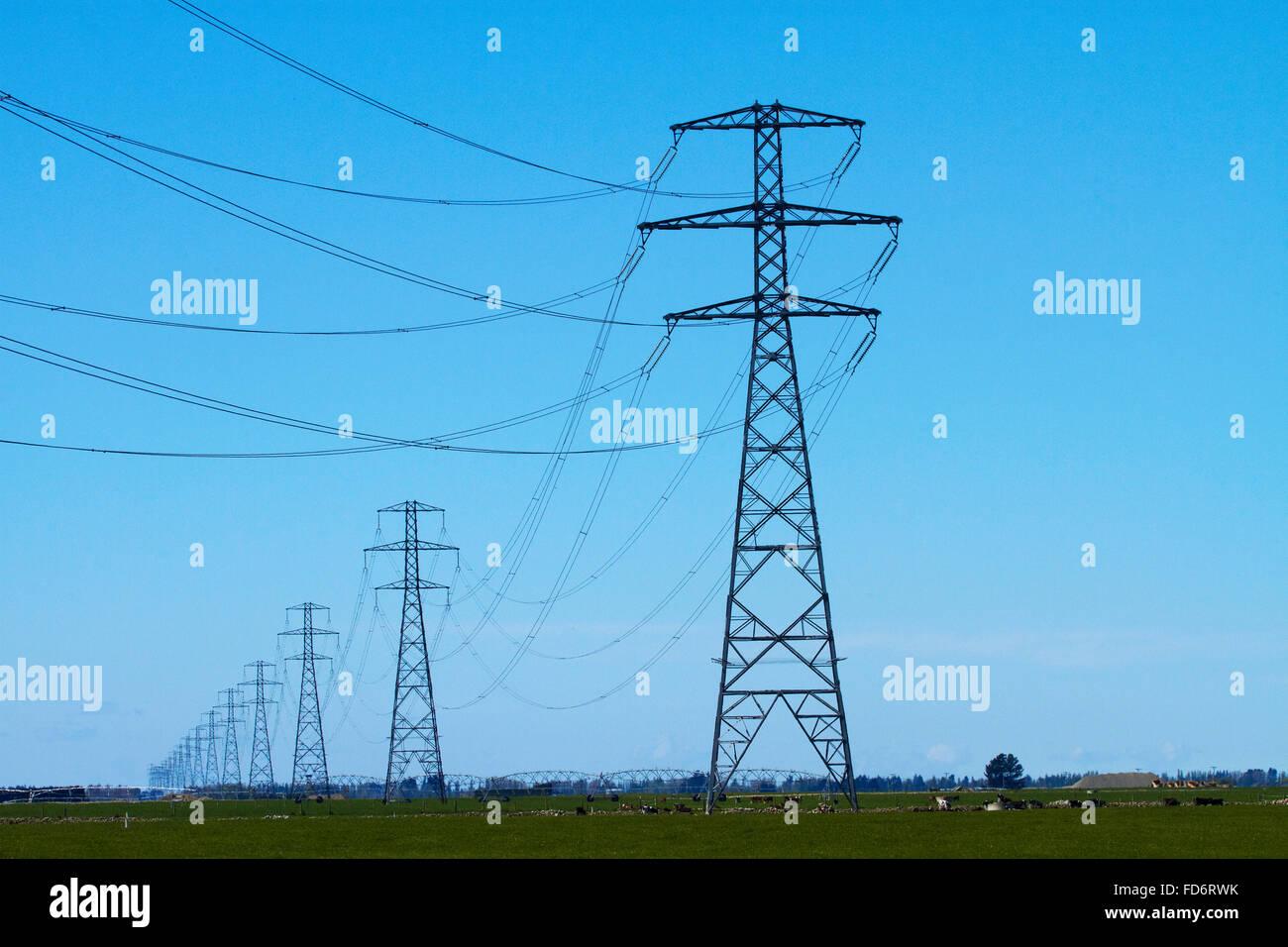 Row of power pylons, Mid Canterbury, South Island, New Zealand - Stock Image