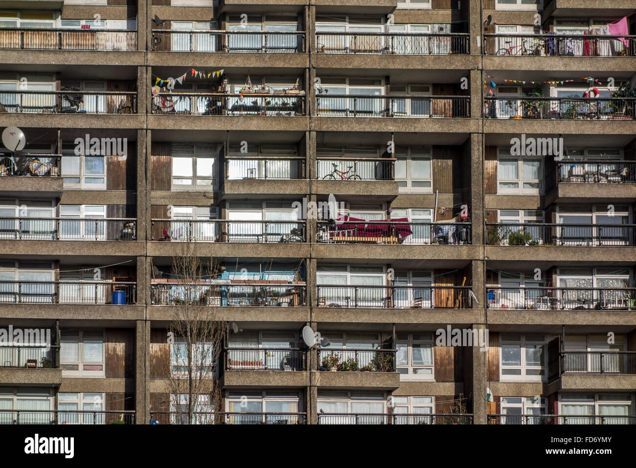 Brutalism: Close-up view of brutalist architecture of Trellick Tower, North Kensington, London, UK Stock Photo