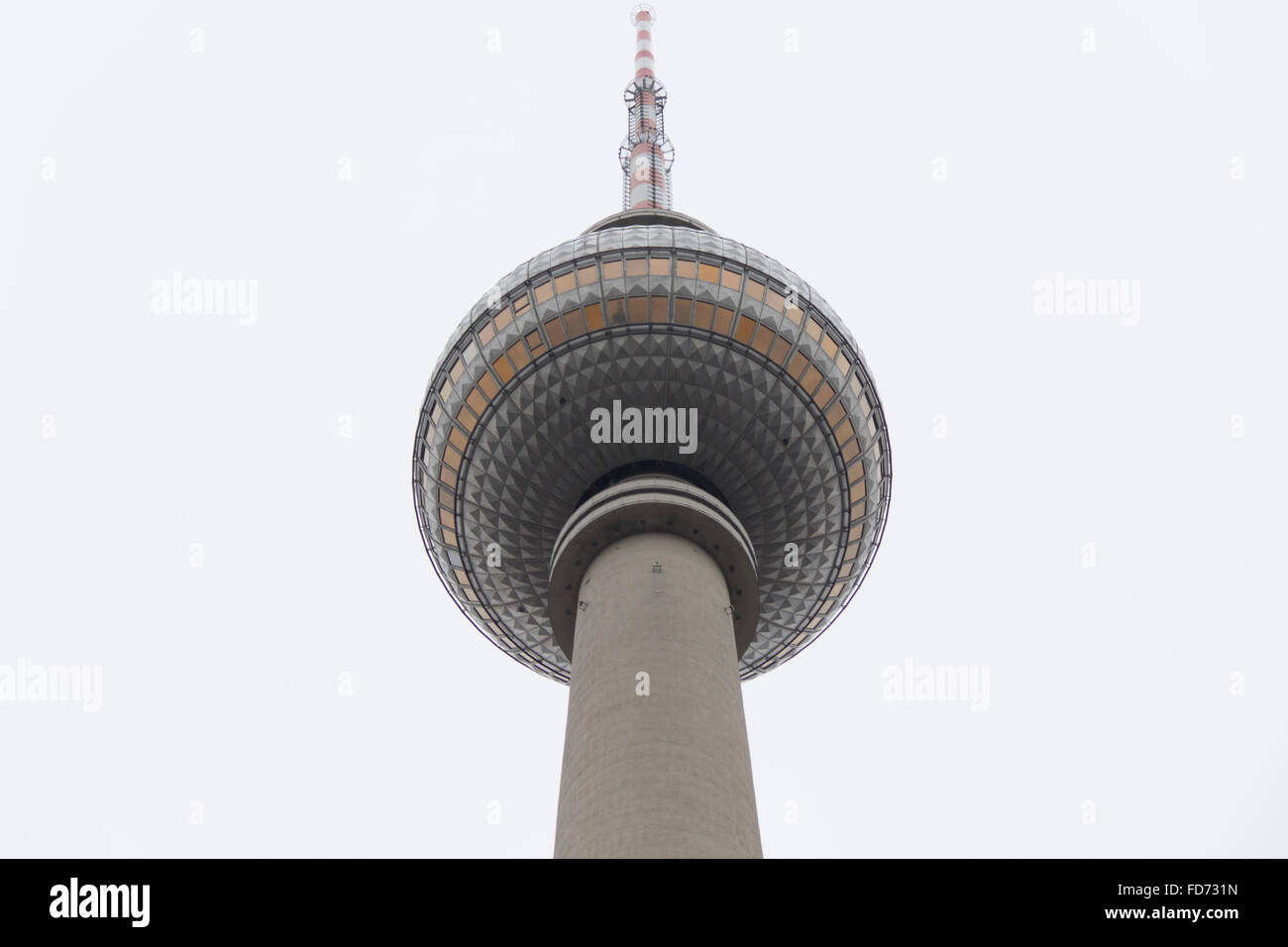 the fernsehturm, berlin tv tower, turret, rook, architecture, architectonics, upbuilding, building, sky, air, blue, - Stock Image