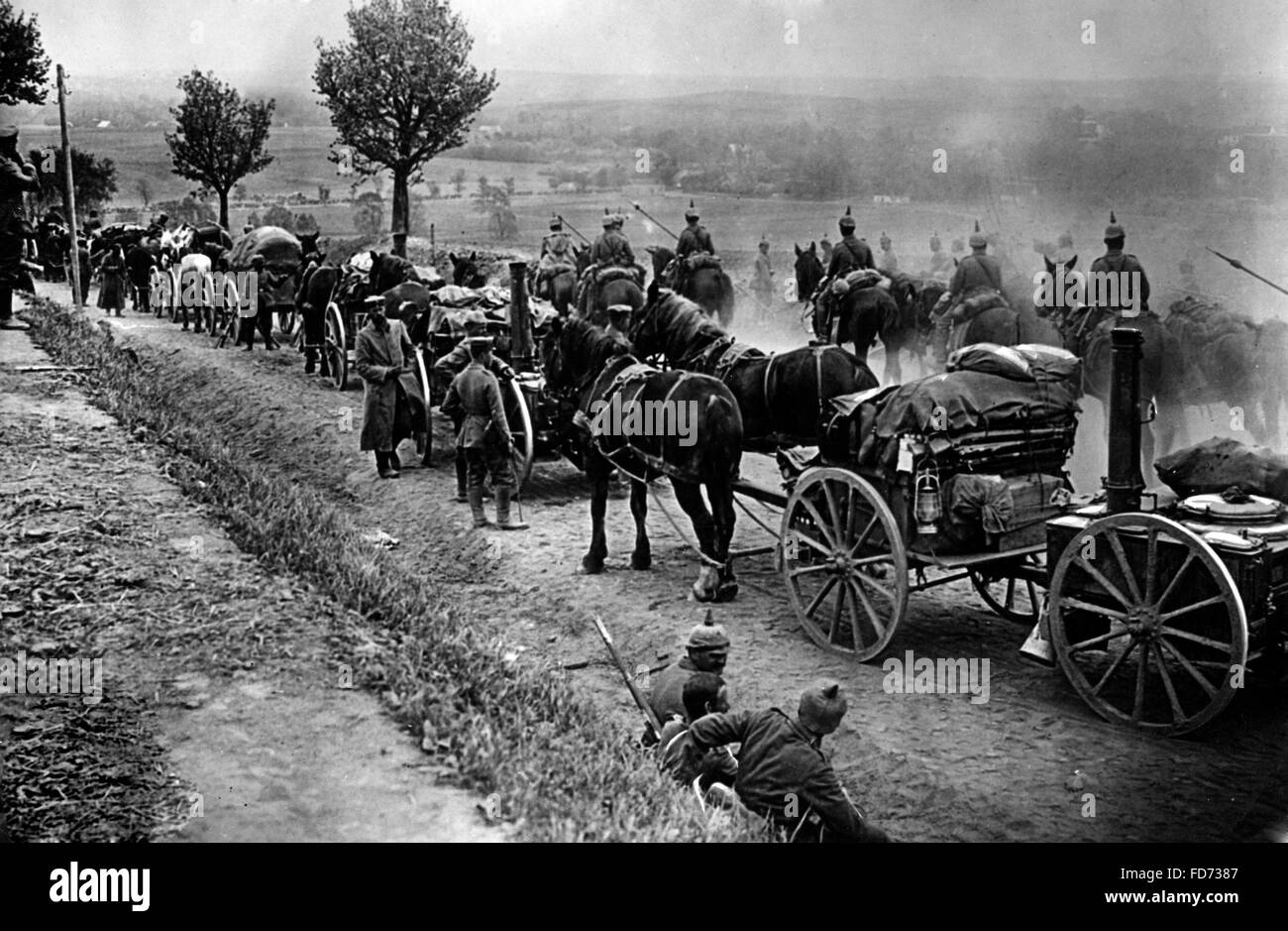 Cavalry and German stage for the Battle of the Marne, 1914 - Stock Image