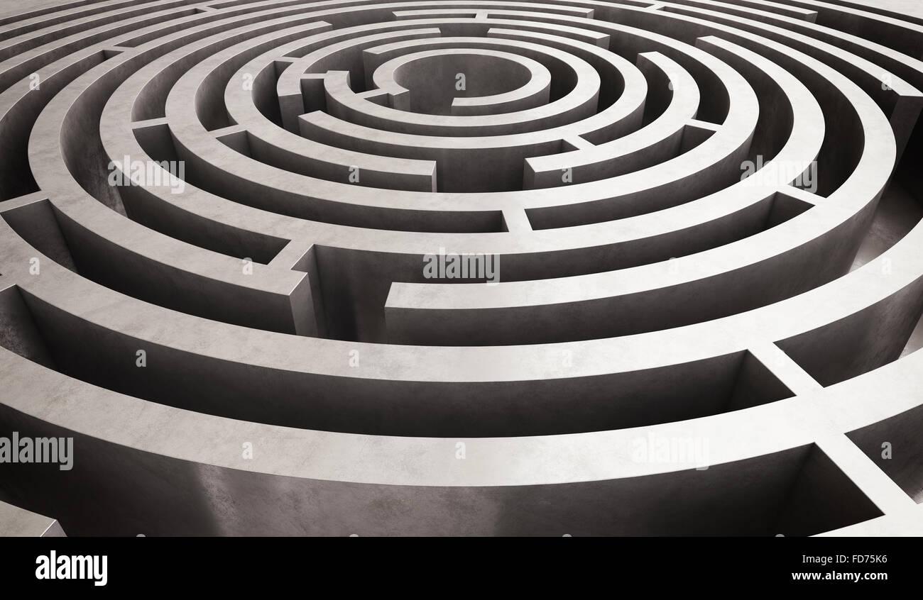 Difficult circular maze - Stock Image
