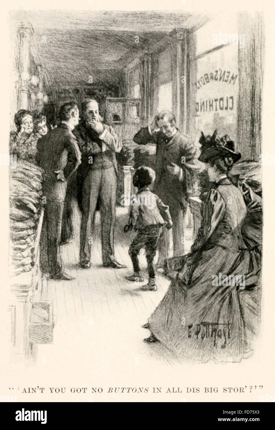 ''Ain't you got no buttons in all dis big stor?'' frontispiece from 'Little 'Jim Crow' - Stock Image