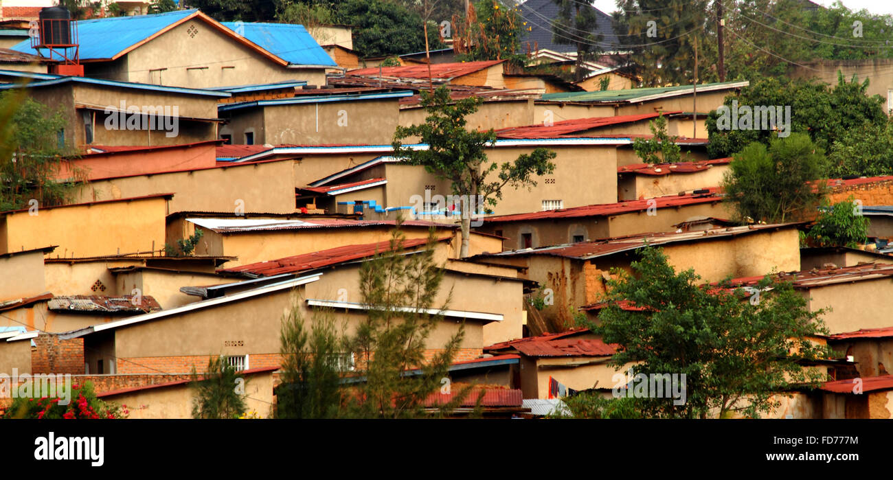 Local homes on a hillside in Kigali, Rwanda - Stock Image