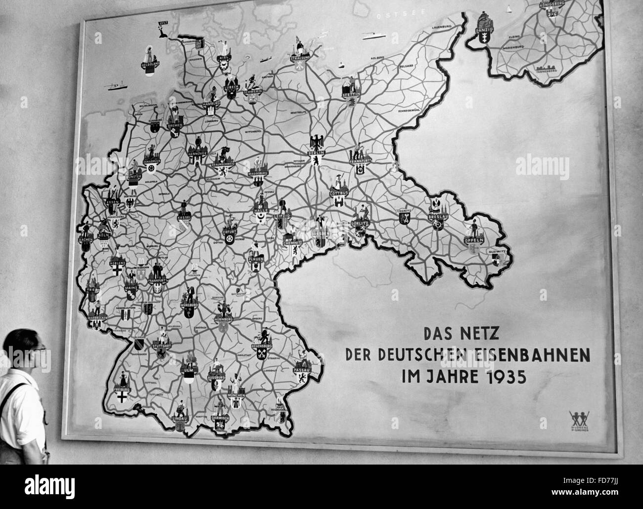 Rail network of the Reichsbahn (Reich Railway), 1935 - Stock Image