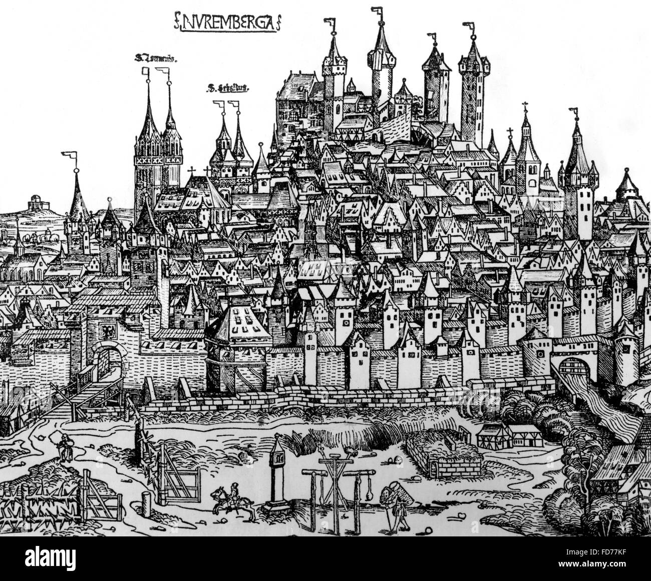 Prospect of Nuremberg from 1493 - Stock Image