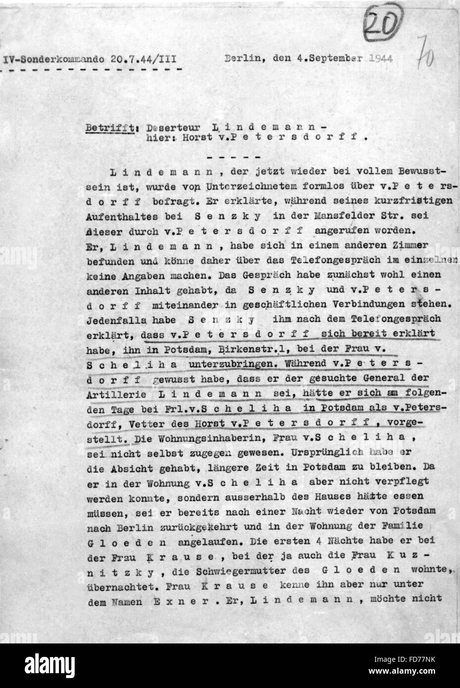 Interrogation report of the attack of 20 July 1944 - Stock Image