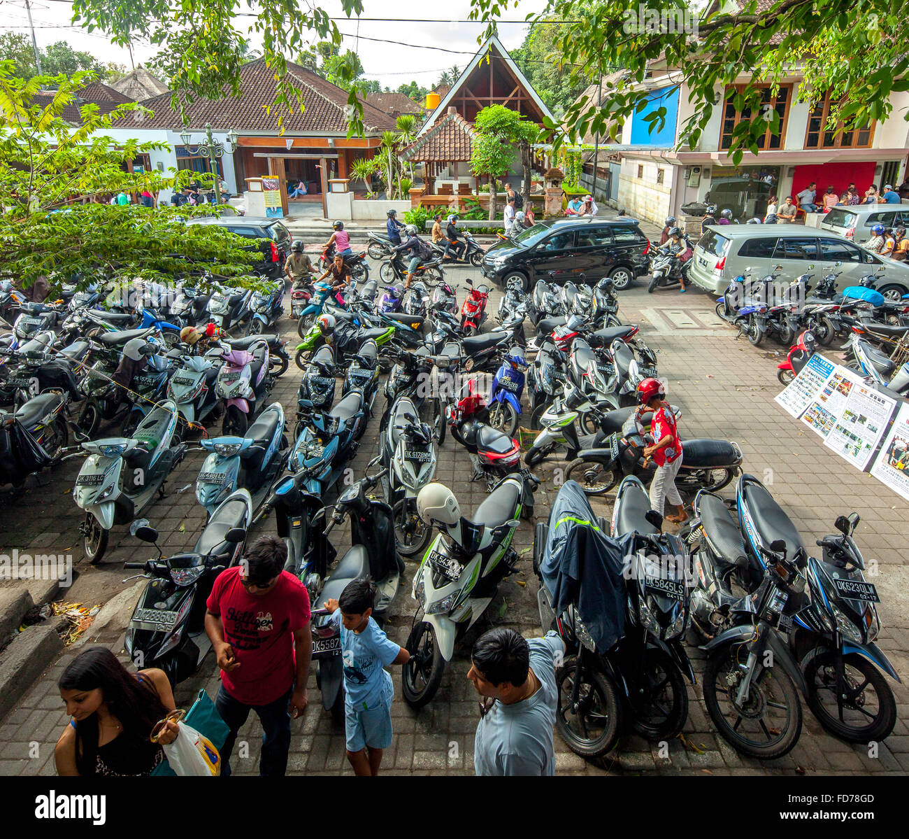 Motorcycle parking, motorcycles, street scene, scooter in a parking lot for rent in Ubud, Ubud, Bali, Indonesia, - Stock Image