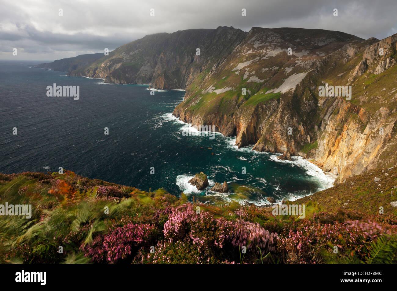 Slieve League (Irish: Sliabh Liag) - At 601 metres (1,972 ft), the highest sea cliffs in Ireland - Stock Image