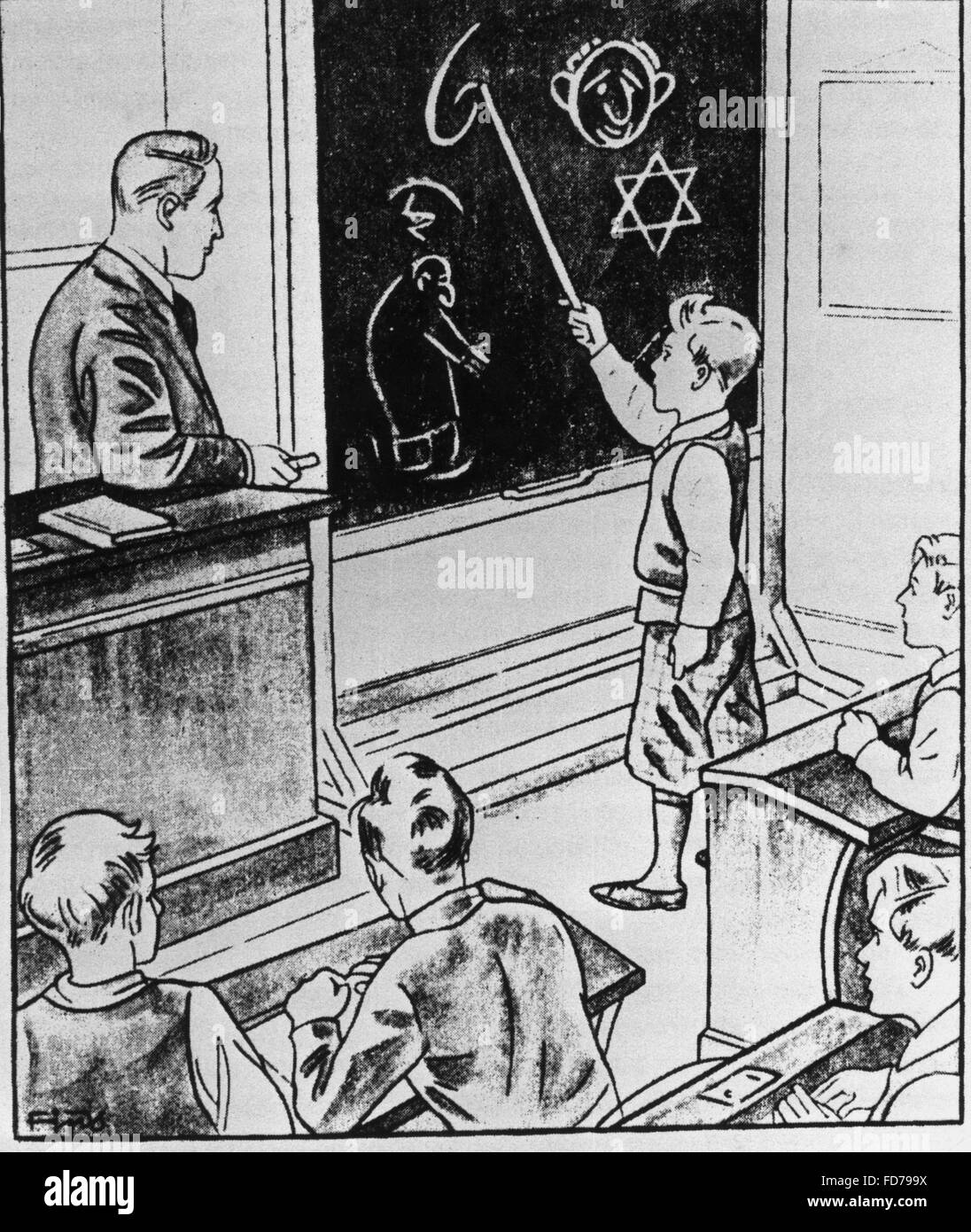 Antisemitic school illustration from the magazine 'Fips' - Stock Image