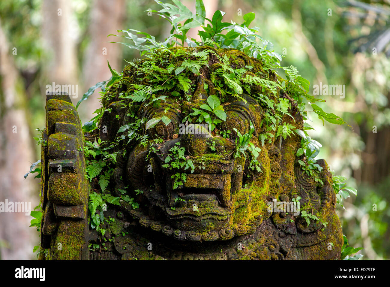 Demon head, at the entrance to Monkey Forest temple, Pura Dalem Agung Padangtegal temple in Ubud Monkey Forest, - Stock Image