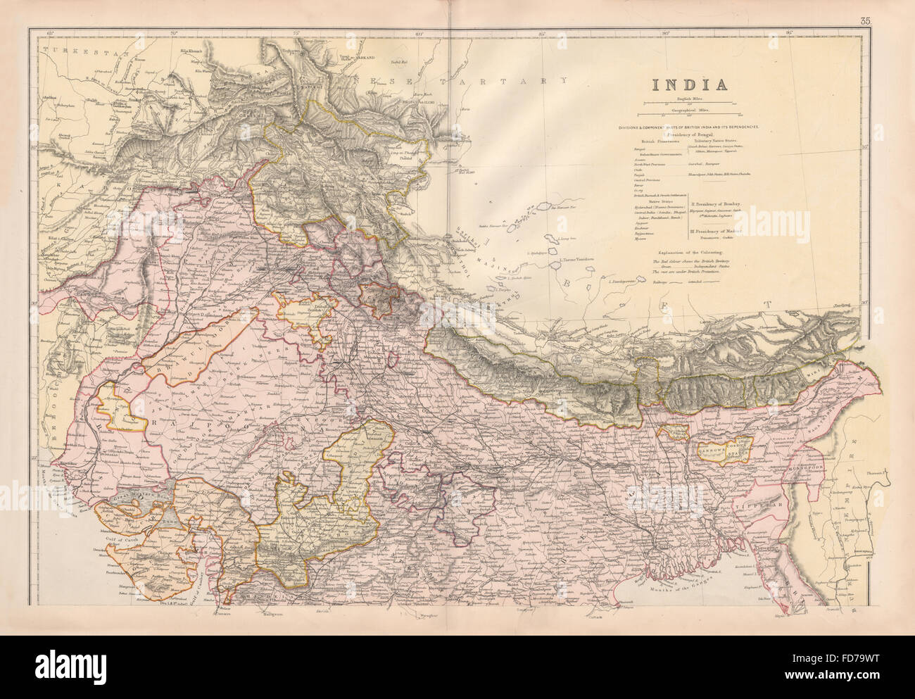 North india maps stock photos north india maps stock images alamy british india north shows railways actual planneddependent states 1882 map stock gumiabroncs Image collections