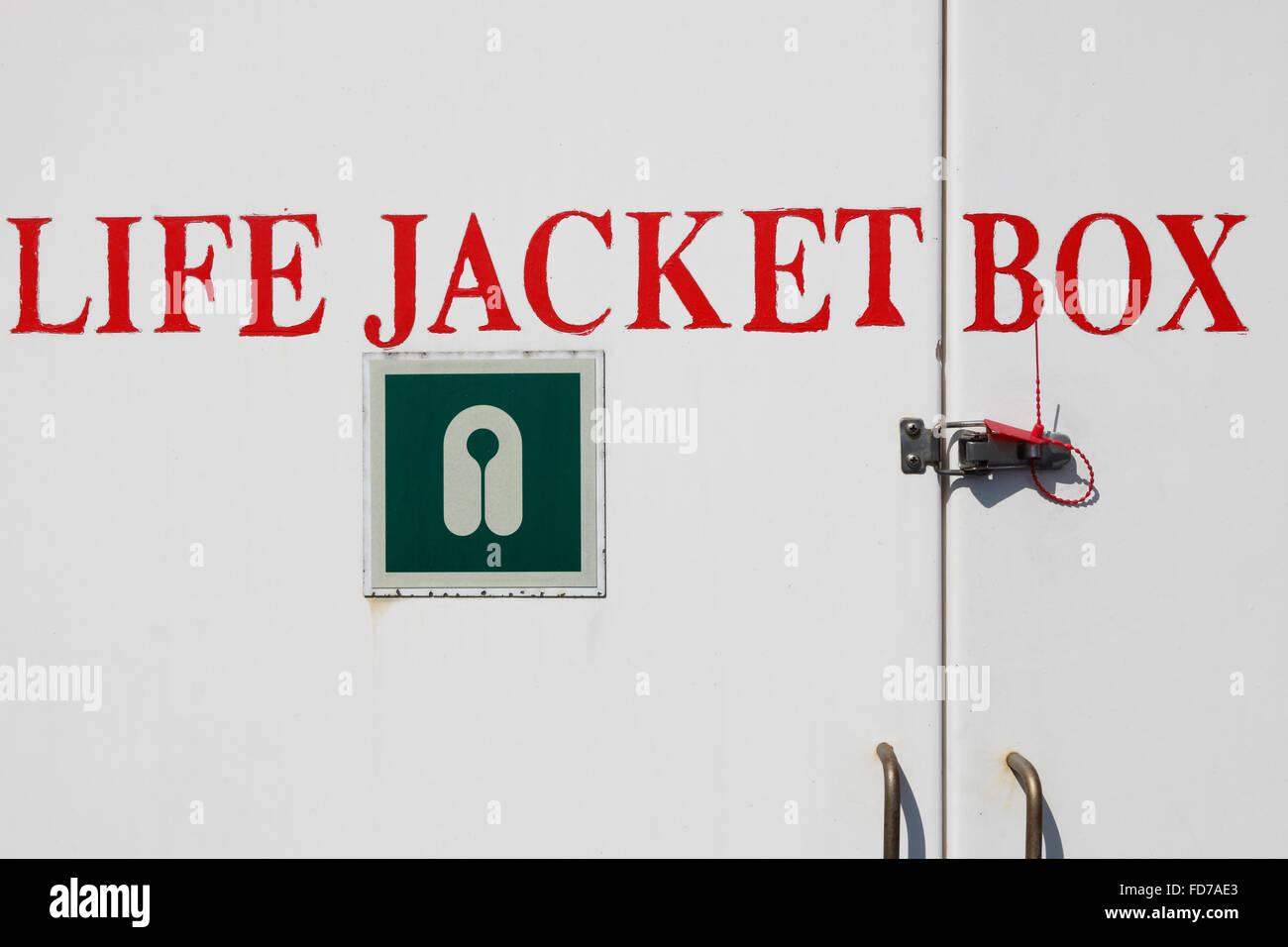 Life Jacket Box on a passenger ship - Stock Image