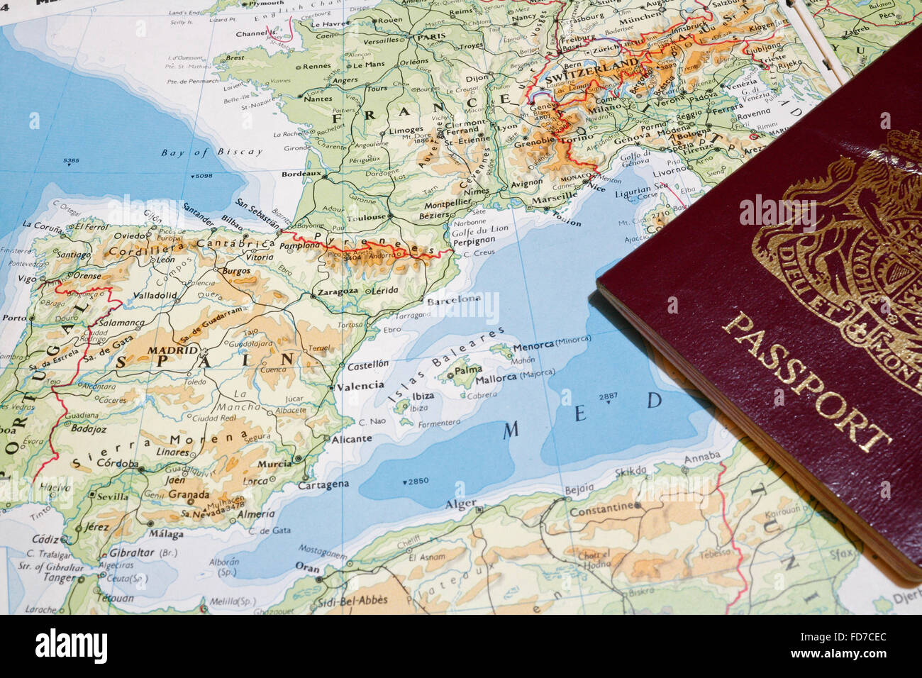 Map Of Western France.Passport And Map Of Western Mediterranean Showing Spain And France