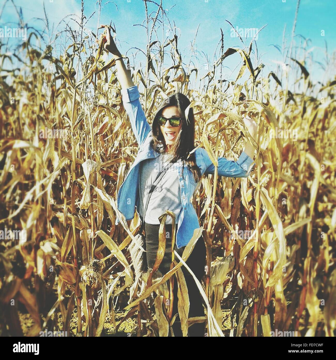 Portrait Of Happy Woman In Agricultural Field - Stock Image