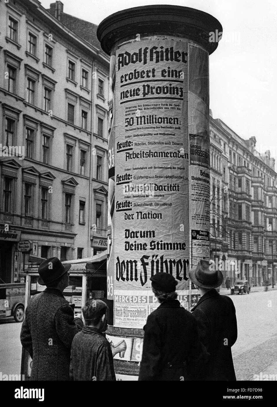 Election propaganda for the Reichstag elections 1936 Stock Photo