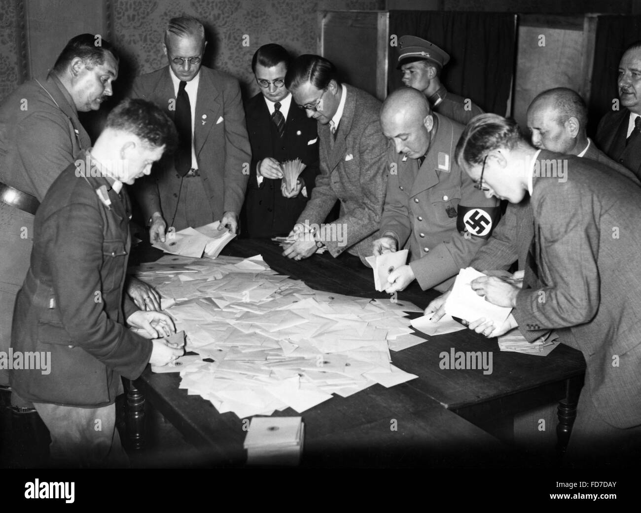 Counting the votes of the referendum on the Head of State of the German Reich in Berlin, 1934 - Stock Image