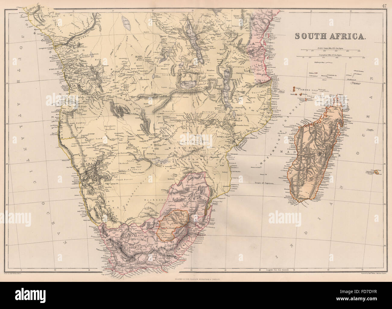 EARLY COLONIAL SOUTHERN AFRICA:Ovaherero Great Namaqua Land Cape Colony 1882 map - Stock Image