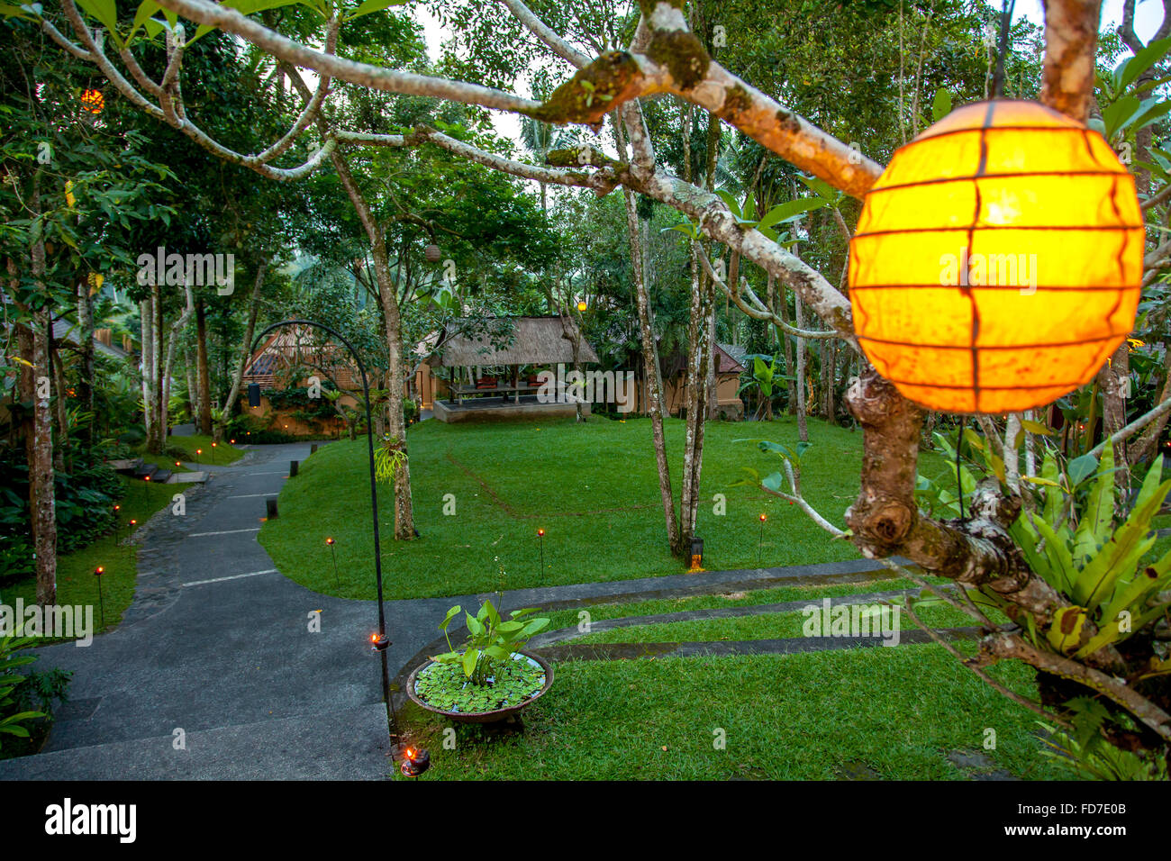 Hotel complex with a Lampignon, Garden Hotel, Ubud, Bali, Indonesia, Asia - Stock Image