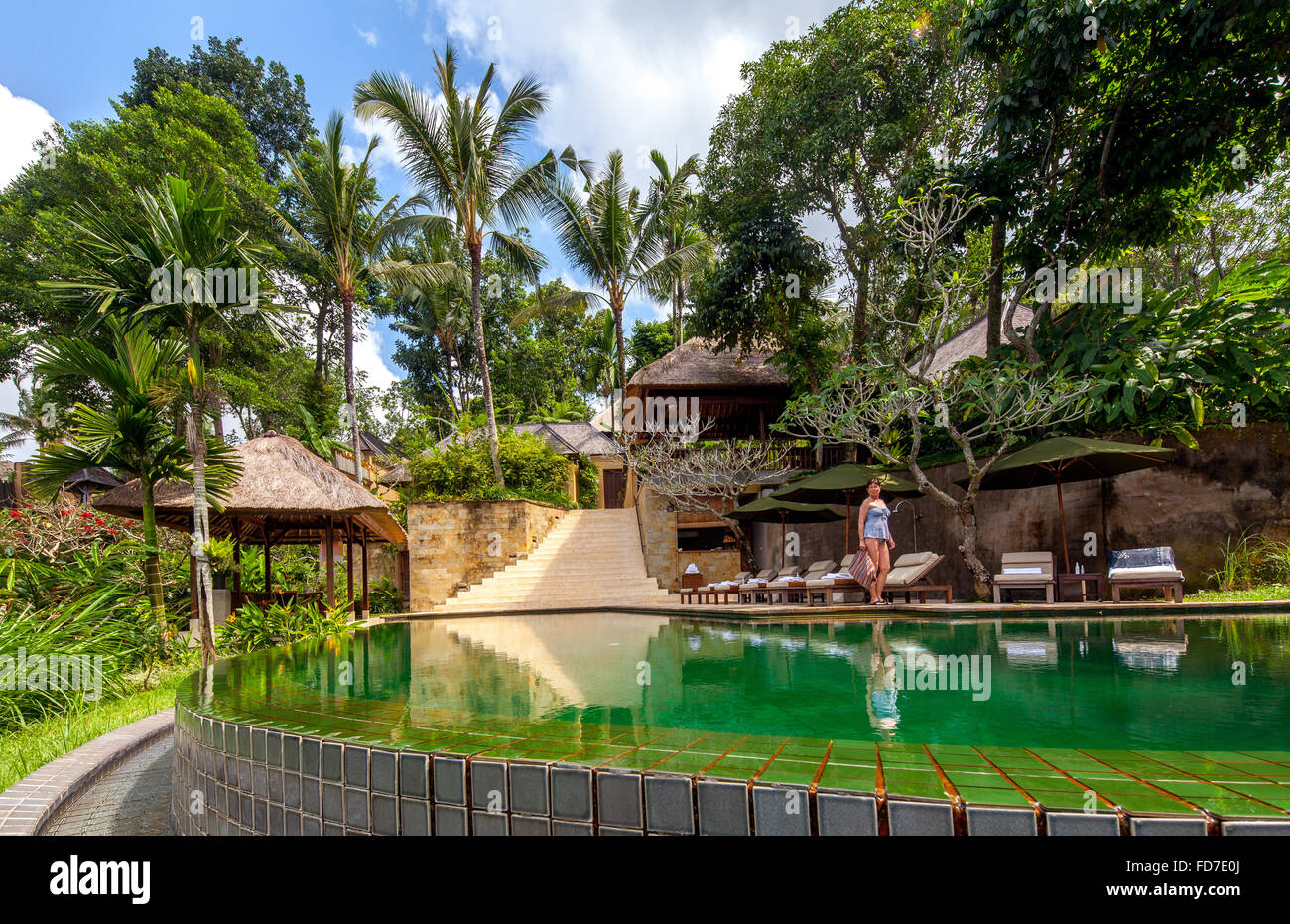Hotel resort with pool and palm trees, Ubud, Bali, Indonesia, Asia - Stock Image