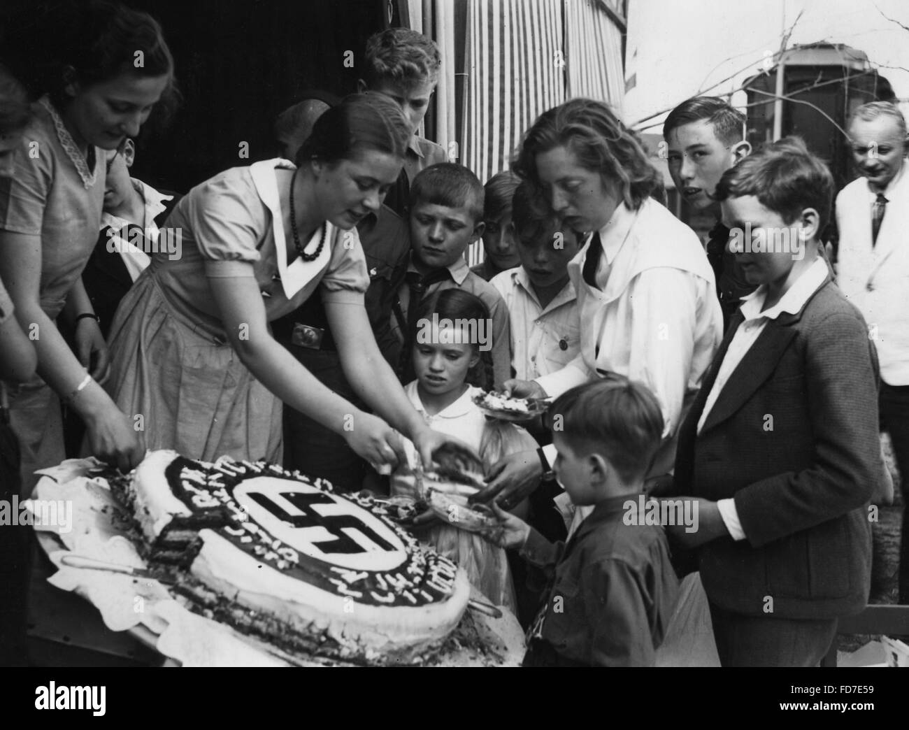 Strange Hitlers Birthday Cake Is Being Shared 1934 Stock Photo 94207157 Birthday Cards Printable Riciscafe Filternl