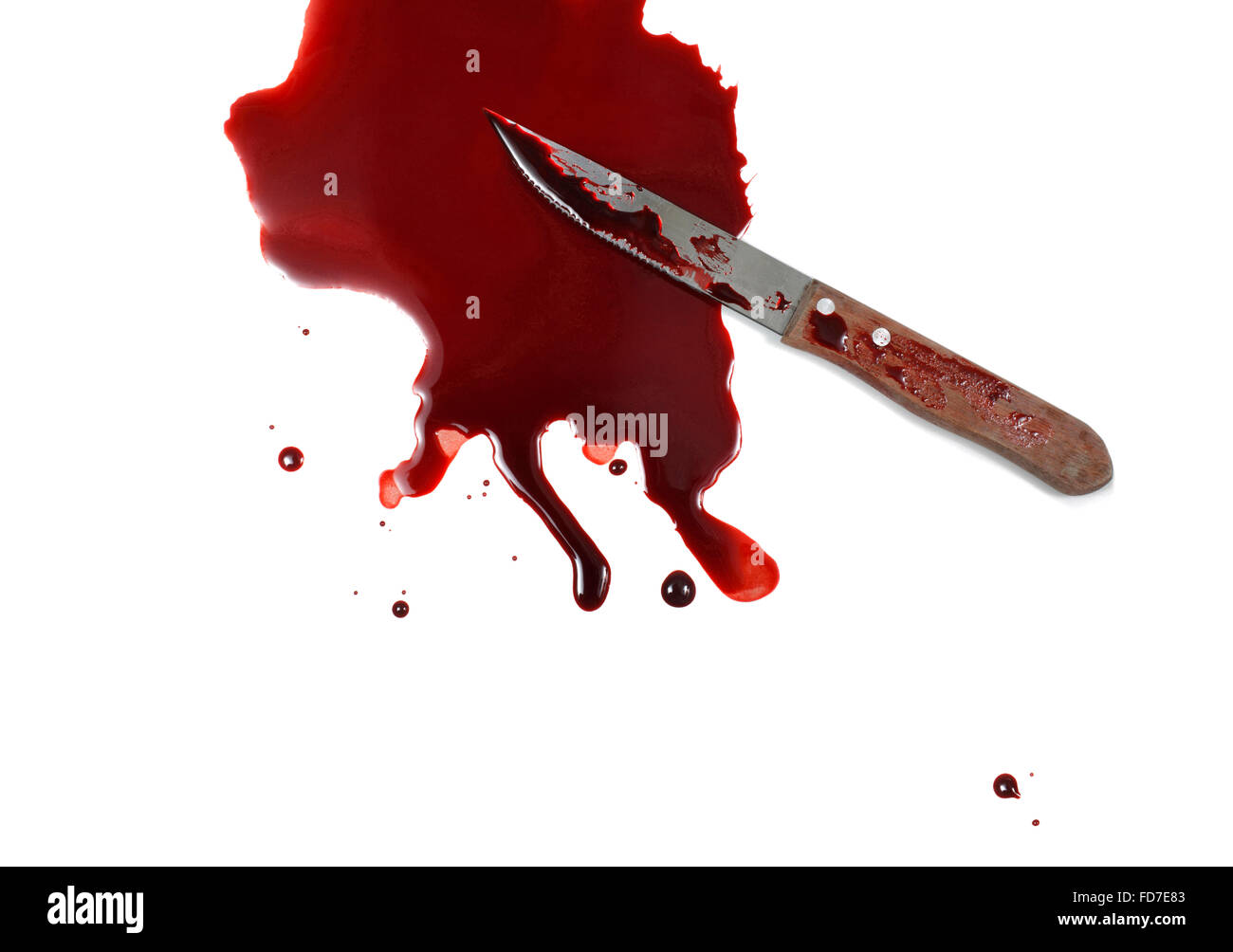 Studio shot of a knife and Blood on white background - Stock Image