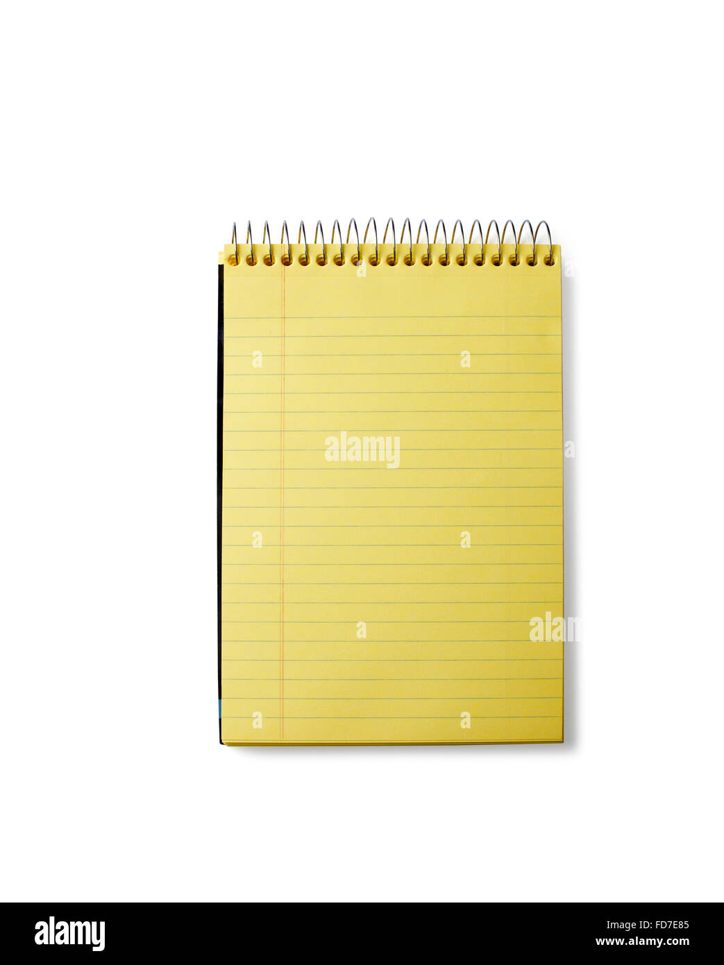 Studio shot of a blank Yellow Notepad - Stock Image