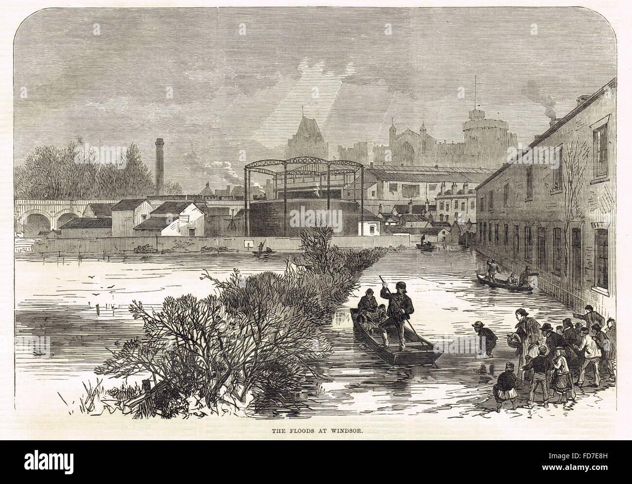 River Thames floods at Windsor in 1869 - Stock Image