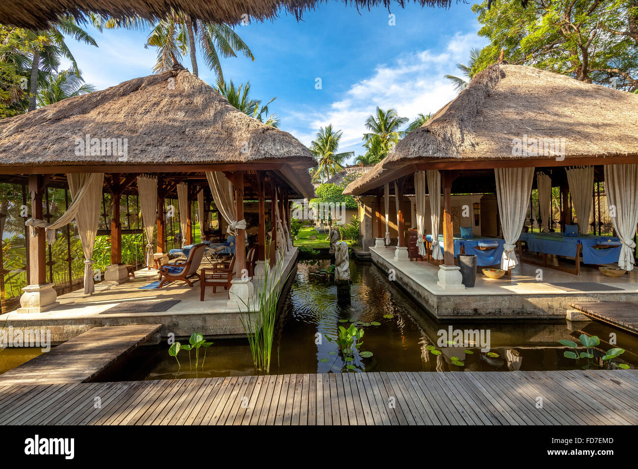 spa area of a star hotel in bali  massage area  spa  thatched houses stock photo 94207581 alamy