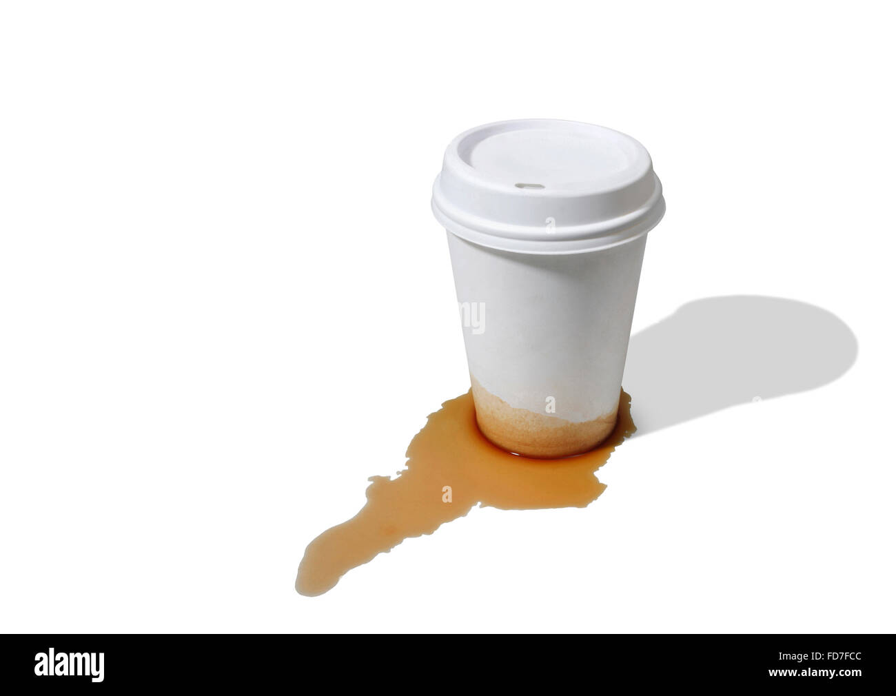 Studio shot of a leaky Takeout Coffee Cup - Stock Image