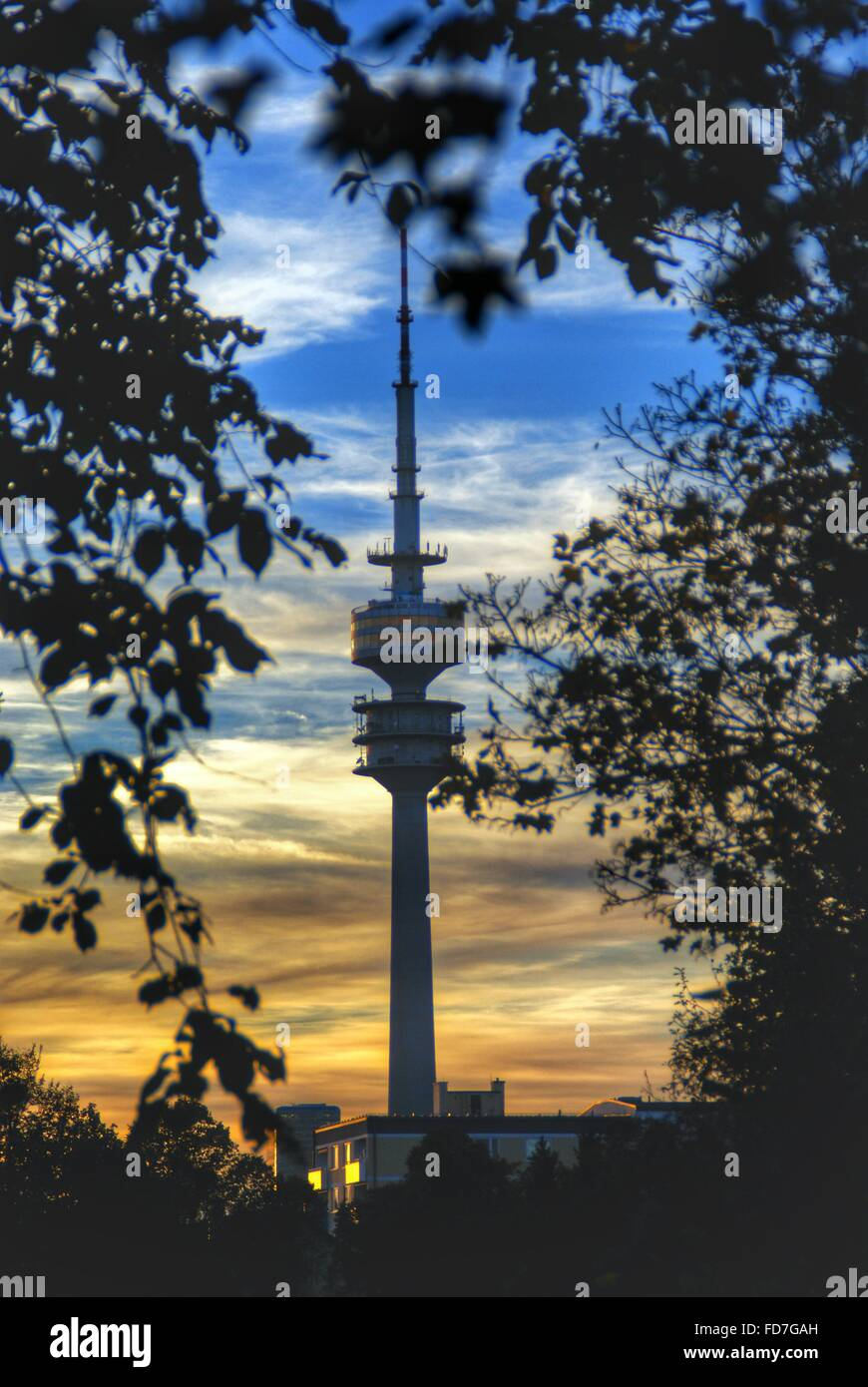 Olympic Tower Against Sky At Dusk - Stock Image