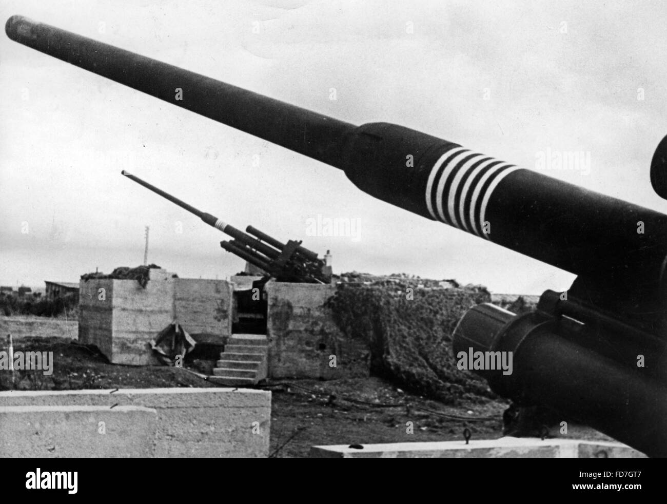 Anti-aircraft position on the Atlantic Wall - Stock Image