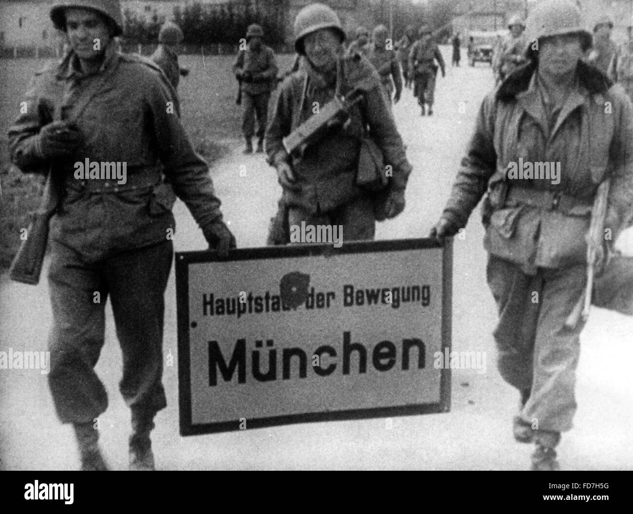 Invasion of the U.S. Army in Munich - Stock Image