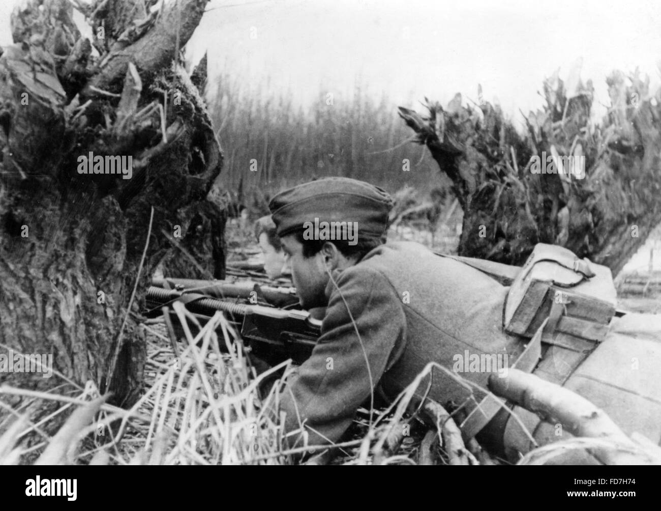 Reconnaissance unit of the Wehrmacht on the Western Front, 1945 - Stock Image